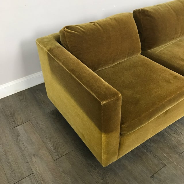 Vintage Gold Mohair Sofa - Image 8 of 11
