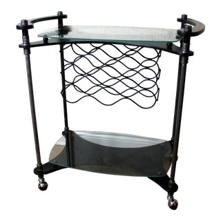 Glass & Black Two-Tiered Bar and Wine Cart