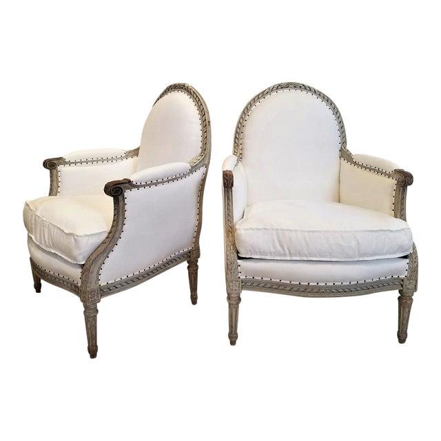 19th C Louis XVI Bergeres Pair For Sale