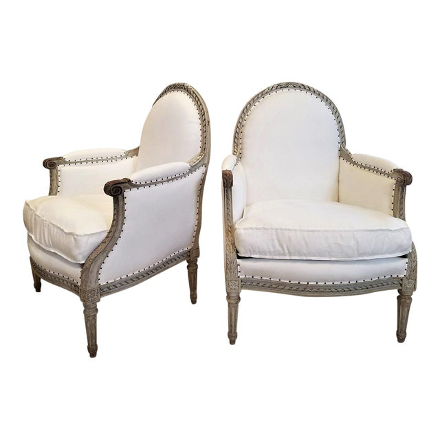 Pair of 19th C Louis XVI Bergeres - Image 1 of 5