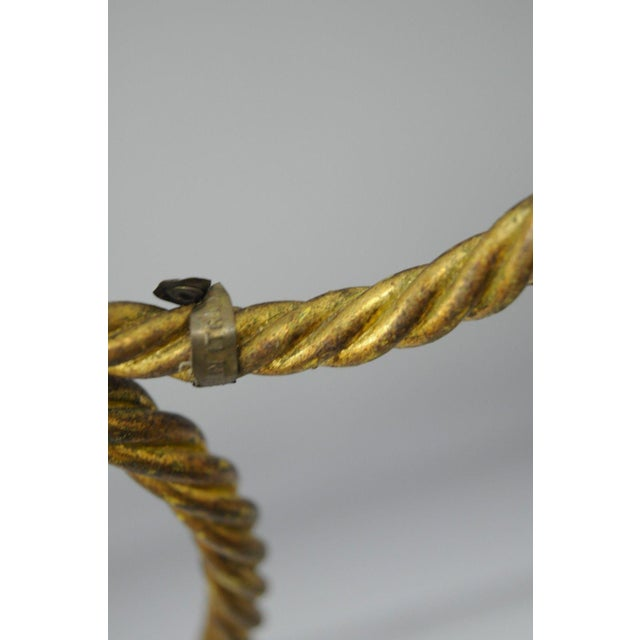 """Italian Hollywood Regency Rope Tassel Gold Iron & Travertine Table Sculpture 24"""" For Sale - Image 10 of 11"""