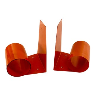 20th Century Art Deco Space Age Modernist Orange Metal Bookends - a Pair For Sale