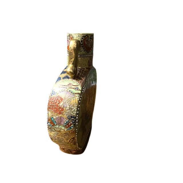 Vintage Hand Painted Asian Vase For Sale - Image 4 of 6