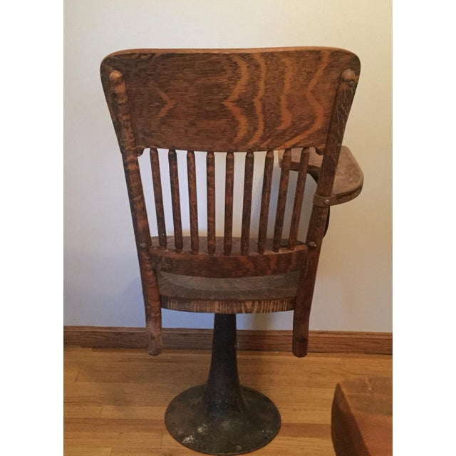 Antique Quarter Sawn Oak University Lecture Hall Chair - Metal Pedestal For Sale - Image 5 of 7