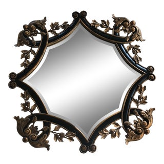Vintage Brass and Black Scroll Motif Mirror For Sale