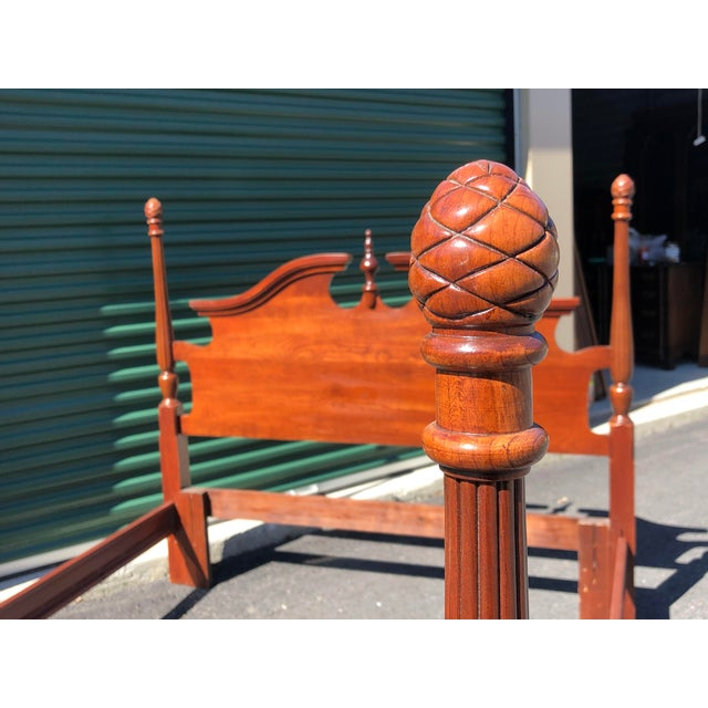 Wood Cherry Pineapple Post Queen/Full Bed For Sale - Image 7 of 12