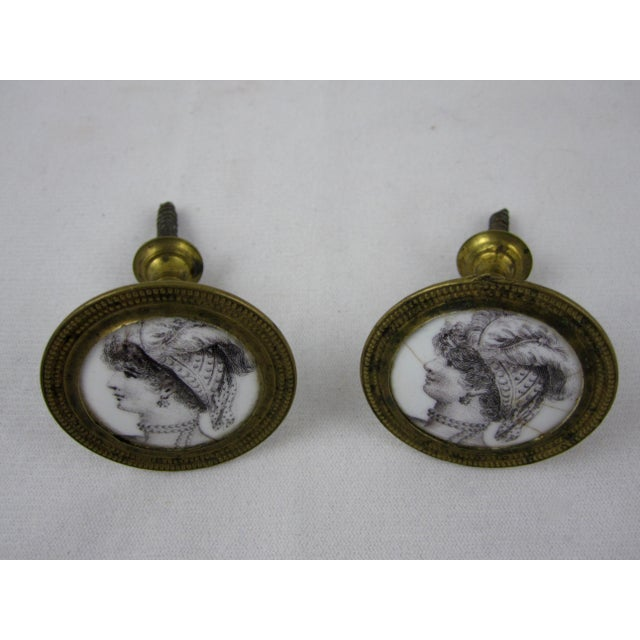 Gold 18th C. English Battersea Enamel Curtain Tiebacks- A Pair For Sale - Image 8 of 9