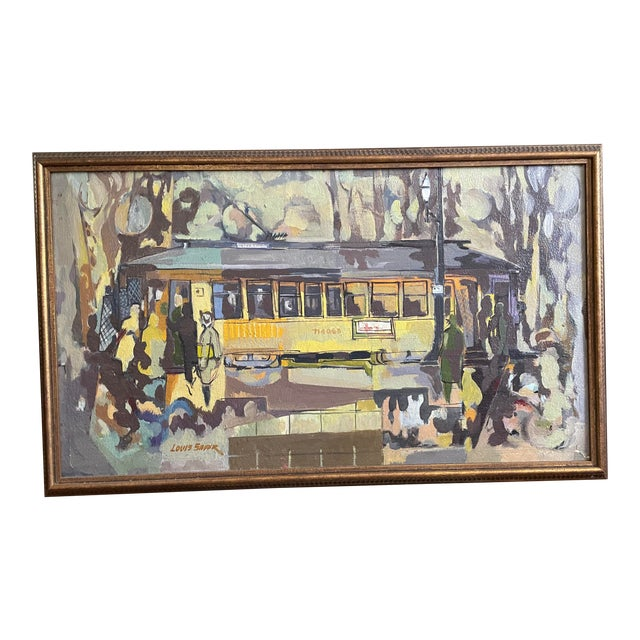 1954 Modernist Figurative Oil Painting by Louis Safer, Framed For Sale