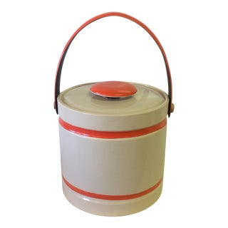 1970's Cream and Orange Ice Bucket
