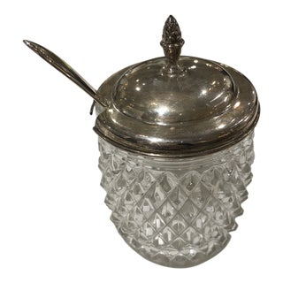 Sterling Silver Lid and Glass Jelly Jar With Spoon For Sale