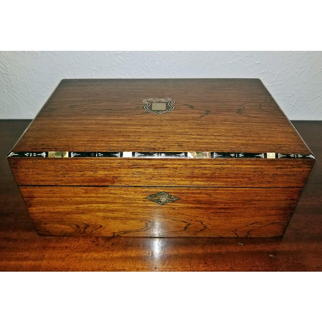 Early 19c Irish Mahogany Writing Slope With Armorial Crest For Sale - Image 13 of 13