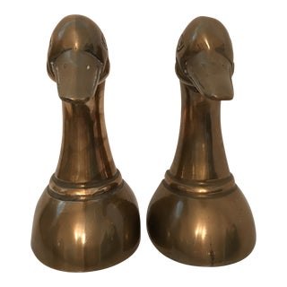 1960s Danish Modern Brass Duck Bookends - a Pair