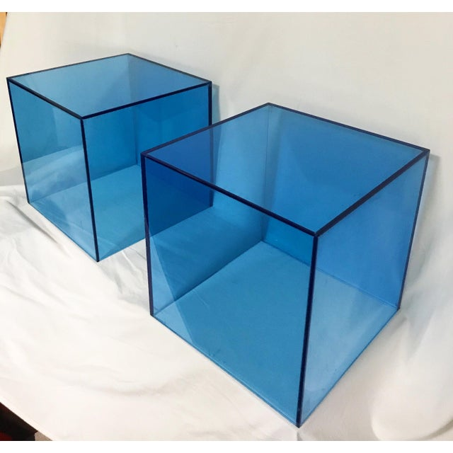 2000 - 2009 Haziza Lucite Cube End Table in Sky Blue, a Pair For Sale - Image 5 of 5