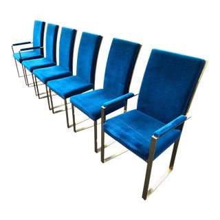 Milo Baughman Style Brass Dining Chairs in Blue Velvet- Set of 6 For Sale