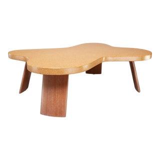 Scandinavian Cloud Cork and Mahogany Coffee Table For Sale