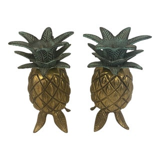 Brass Pineapple Candlestick Holders - a Pair For Sale