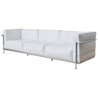 Le Corbusier Lc3 Style White Leather and Chrome Sofa For Sale