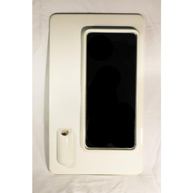 White Plastic Italian Mod Mirror For Sale - Image 4 of 5