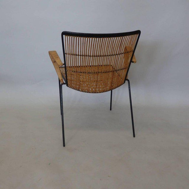 Brown Wrought Iron Frame Franco Albini Style Rattan Chair For Sale - Image 8 of 10