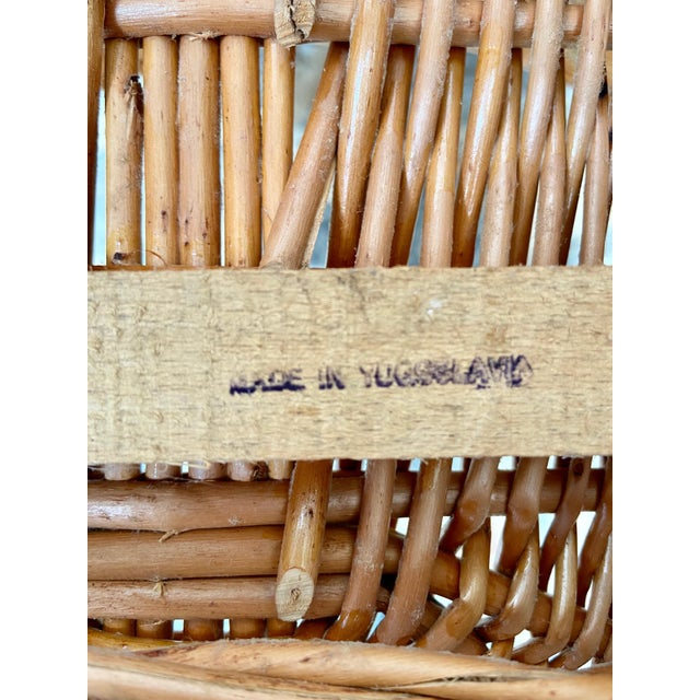 Vintage Boho Chic Wicker Scoop Chairs - a Pair For Sale - Image 9 of 10