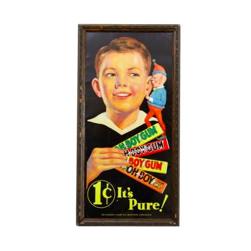 """1930s Tin Lithograph """"Oh Boy"""" Gum Sign - Image 2 of 2"""