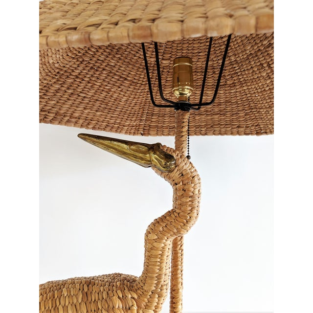Brown Mario Lopez Torres 1974 Monumental Egret Wicker Table Lamp For Sale - Image 8 of 13