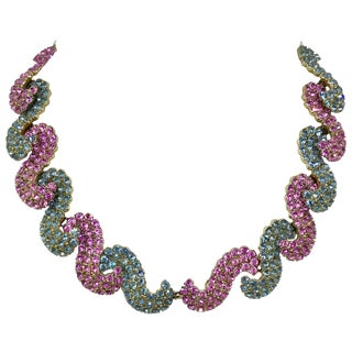 1950s Schiaparelli Pink and Blue Rhinestone Necklace For Sale