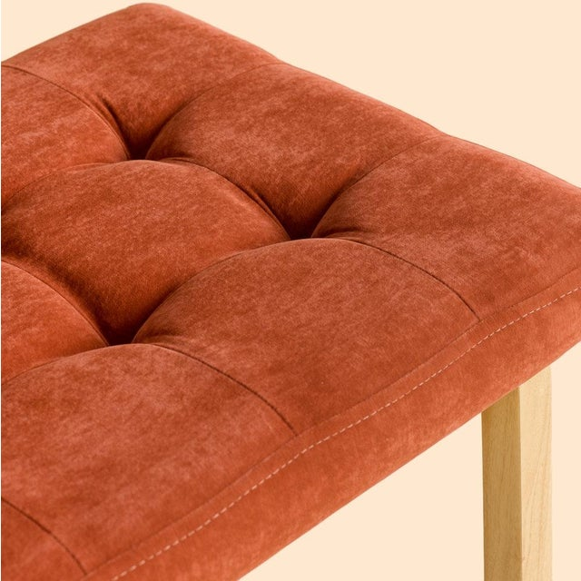 Gorgeous terracota velvet warms the seat of the light Palo blanco base. The tufted seat provides a welcoming atmosphere in...