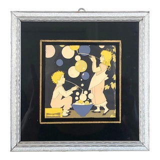 1920s Children Blowing Bubbles Art Deco Style Lithograph, Framed For Sale