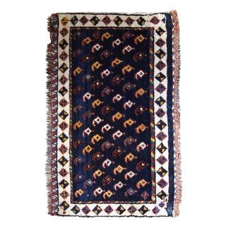 180s Handmade Antique Persian Collectible Luri Bagface 1.9' X 3' For Sale