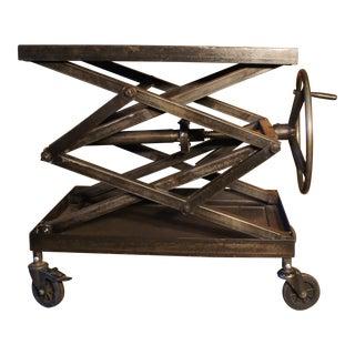 Vintage Industrial Crank Table For Sale