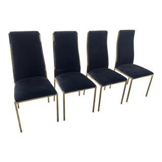 1970s Vintage Milo Baughman Brass Plated Cantilever Curved Dining Chairs- Set of 4 For Sale