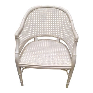 Palm Beach Regency White Cane Fret Work Faux Bamboo Side Chair For Sale