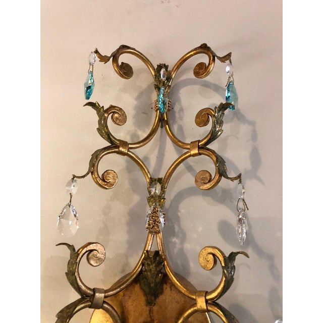 Murano Neoclassical Handcrafted Italian Gilt Metal and Crystal Sconces - a Pair For Sale - Image 4 of 10