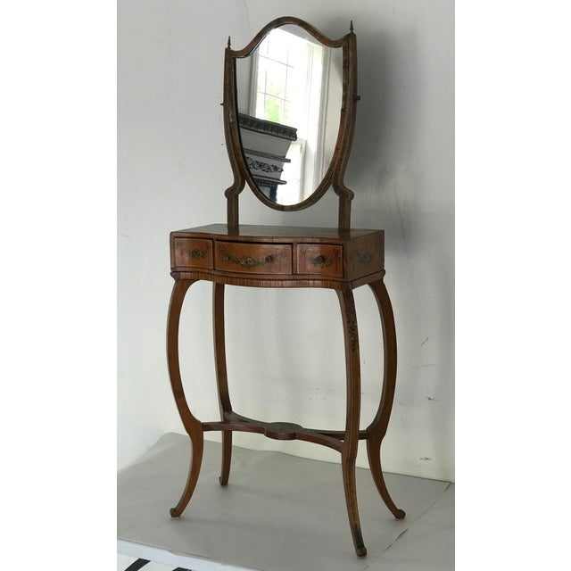 1790s Traditional Sheraton Shield Shaped Mirror Hand Painted Childs Vanity For Sale - Image 13 of 13