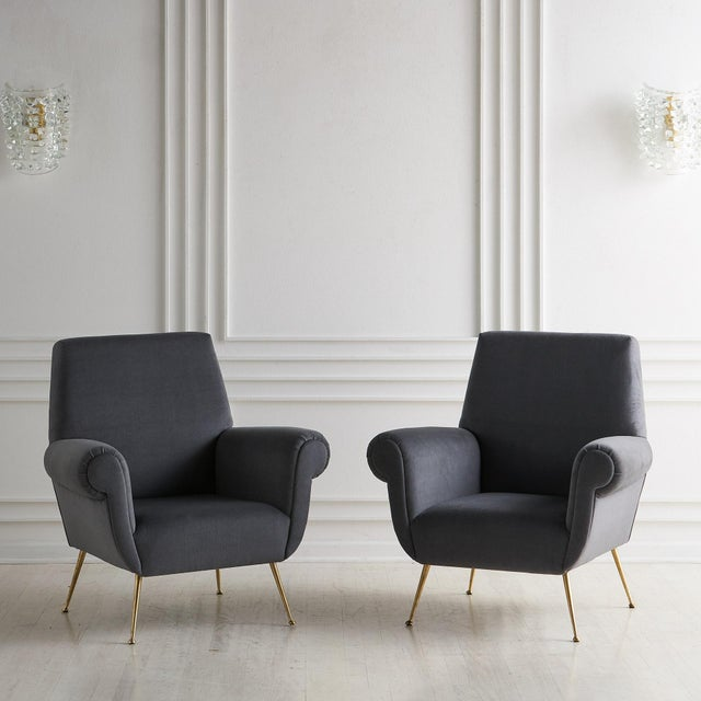 1960s Pair of Gigi Radice Lounge Chairs in Charcoal Gray Mohair For Sale - Image 5 of 5
