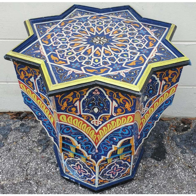 Blue Moroccan Lg Ceuta 5 Painted and Carved Star Table, Multi-Color For Sale - Image 8 of 8