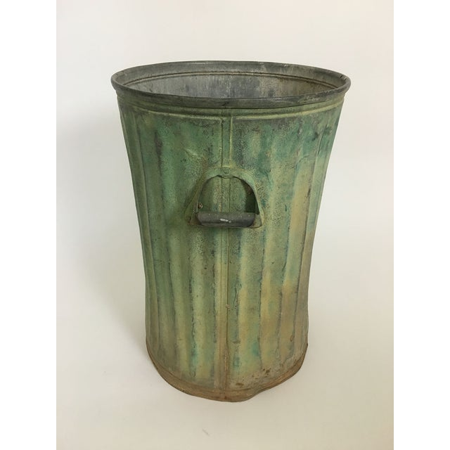 Industrial Green Trash Can With Patina For Sale - Image 3 of 5