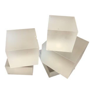 Frosted Glass Cubes Bookend Risers - Set of 5