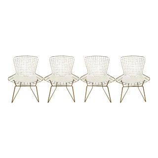 Gold Chrome Side Chairs in the Style of Harry Bertoia - a Set of 4 For Sale