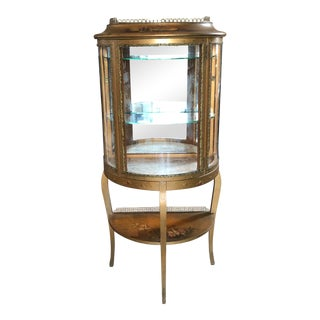 French Handpainted Vernis Martin Demilune Curio Cabinet For Sale