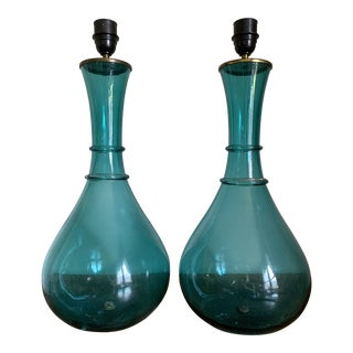 1950s Italian Hand Blown Blue Art Glass Table Lamps - a Pair For Sale