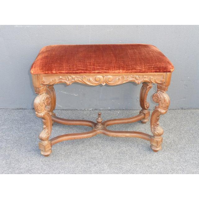 Antique Ornate Carved Orange Velvet Bench - Image 2 of 10