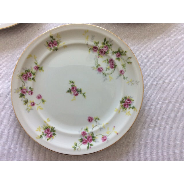 Set of 3 Pink, Purple Flowers, Green and Yellow Leaves Salad Plates Width: 7 5/8 in Crafted in Japan Hand Wash