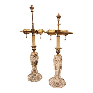Crystal Double Light Table Lamps - a Pair For Sale