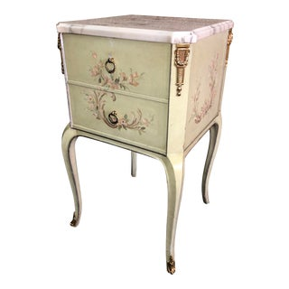 Vintage Marble Top Hand Painted Venetian Style Two Drawer Chest W/Brass Ormolu For Sale