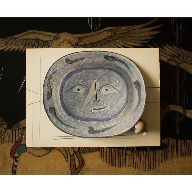Cubism 1955 Pablo Picasso Smiling Face Ceramic Plate, Original Period Swiss Lithograph For Sale - Image 3 of 6