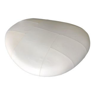 Naoto Fukasawa Ishi Big White Leather Pouf For Sale