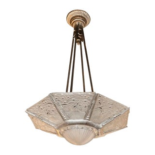 Art Deco Cubist Silvered Bronze and Frosted Glass Chandelier by Georges Leleu For Sale