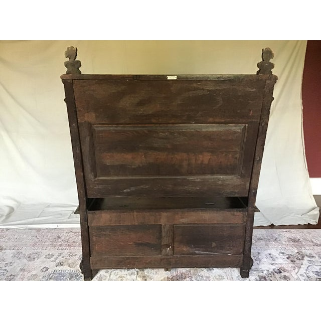 Late 19th Century Antique Carved Oak Bench For Sale - Image 11 of 13